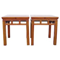 Pair Chinese Qing Elm Square Stools / Side Tables