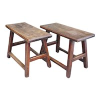 Pair of Chinese Provincial Elm Benches
