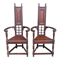 Pair English Liberty & Co. Arts and Crafts Mahogany Tall Back Shakespeare Armchairs
