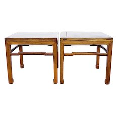 Pair Small Chinese Qing Elm Square Side Tables