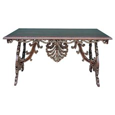 Sino-Portuguese Macao Carved and Painted Wood Console Table