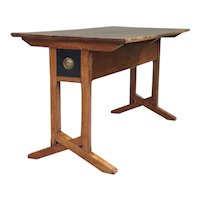 English Arts and Crafts Period Solid Oak Library Table