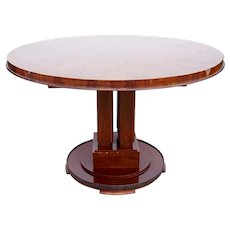 French Art Deco ALFRED PORTENEUVE Polished Mahogany Round Pedestal Table