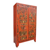 Italian Red Painted Pine Astrological Decoupage Wardrobe