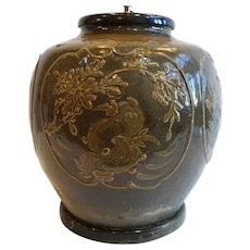 Chinese Brown Glaze Pottery Jar Table Lamp