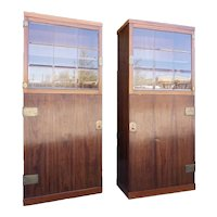Pair of Vienna Secessionist Friedrich Otto Schmidt Mahogany and Beveled Glass Cabinets