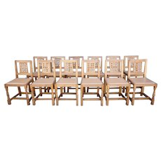 Set of 12 English Robert L. Thompson Mouseman Oak and Leather Lattice Back Dining Chairs