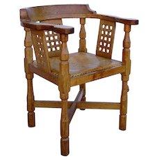 English Robert L. Thompson Mouseman Solid Oak Leather Seat Monks Armchair