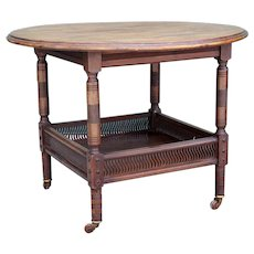 Fine English Aesthetic Movement Mahogany Round Two-Tier Parlor Table