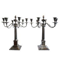 Large Pair of Silverplate on Copper Six-Light Candelabra