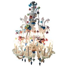 Large Vintage Italian Ca'Rezzonico Galliano Ferro Murano Multi-Colored Glass 12-Light Chandelier
