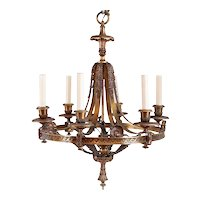 American Louis XVI Revival Bronze Six-Light Chandelier