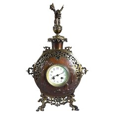 French Parisian A.D. Mougin Aesthetic Movement Gilt and Patinated Bronze Mantel Clock