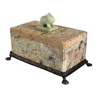 Chinese Soapstone and Jade Rabbit Finial Dresser Box