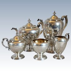 Five-Piece Vintage American Wallace Sterling Silver Windermere Tea and Coffee Set