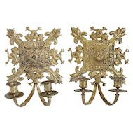 Pair of Brass Two-Light Candle Wall Sconces