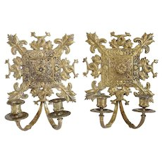 Pair of French Brass Two-Light Candle Wall Sconces