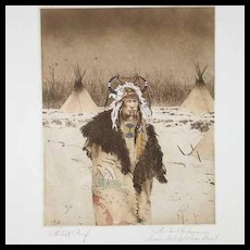 Pair MICHAEL COLEMAN Etchings on Paper, Ermine Tail Split Horn Bonnet and Blackfeet
