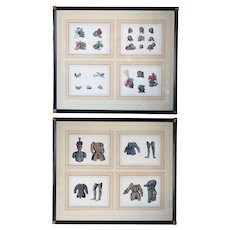 Two Framed Sets of 4 Continental Engravings, Renaissance Armor