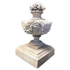 Vintage Neoclassical Limestone Garden Urn