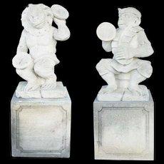 Pair of Vintage Limestone Monkey Musician Sculptures on Pedestals
