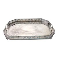 Large English Victorian Mappin & Webb Engraved Silverplate Gallery Tray