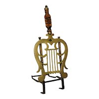 English Regency Brass, Iron and Wood Lyre-Form Hearth Trivet Kettle Stand