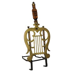 English George III Brass and Wood Hearth Trivet Stand