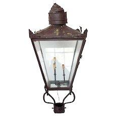 Victorian Copper Three-Light Street Post Lantern