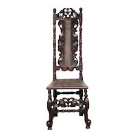 English Charles II Caned Walnut High Back Side Chair