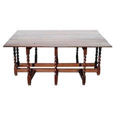 Large English William and Mary Oak Drop-Leaf Gateleg Dining Table
