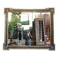 Large Italian Silver Gilt and Blue Painted Overmantel Custom Made Mirror