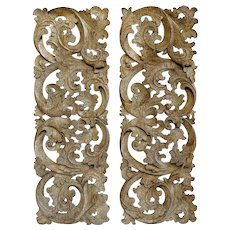 Pair Indonesian White Washed Teak Architectural Carved Panels