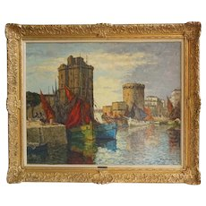 CHARLES COUSIN Oil on Board Painting, La Rochelle Harbor Port, France