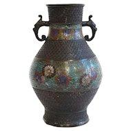 Chinese Late Qing Champlevé Enamel Bronze Hu-Form Vase