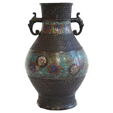 Chinese Late Qing Champlevé Enamel Bronze Hu-Form Vase