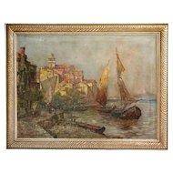 M. RICARDO Oil on Canvas Painting, European Harbor Scene