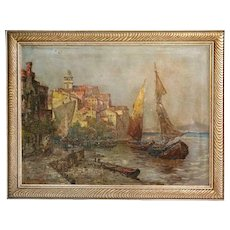 M. RICARDO Oil on Canvas Painting, European Harbor Scene