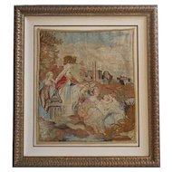 Large Framed English Victorian Woolwork Needlepoint Tapestry