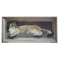 RICHARD MURRAY Large Oil on Canvas Board Painting, Recumbent Mountain Lion
