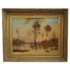 Large French School Oil on Canvas Painting, Cows Grazing by the River