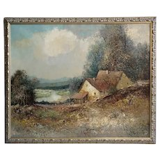 WILLI BAUER Large Oil on Canvas Painting, Impressionist Riverside Cottage