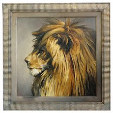 RICHARD MURRAY Large Oil on Canvas Board Painting, Lion Portrait
