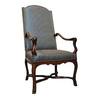 French Provincial Louis XV Walnut Upholstered Fauteuil Armchair
