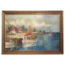Signed Large European Oil on Canvas Painting, Village Fishing Boats