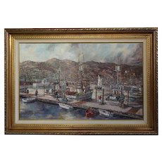 ROBERT LEBRON Large Oil on Canvas Painting, Fishing Boats at the Dock