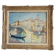 J. BARRY GREENE Large Oil on Canvas Painting, Riatto Bridge, Venice