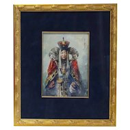 Signed Mongolian Watercolor Painting, Portrait of a Lady