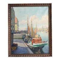 ROBERT PON Oil on Canvas Painting, European Fishing Boats at the Dock