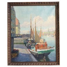 ROBERT PON Oil Painting, European Village Fishing Boats